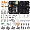 246pcs/box Fishing Tackles Box Accessories Kit Set With Hooks Snap Sinker Weight For Carp Bait Lure Ice Winter Accessoires